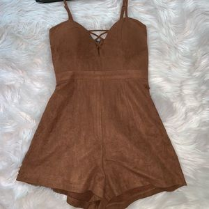 LF Stores Camel Brown Romper ONLY WORN ONCE!